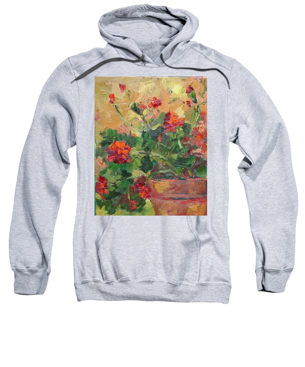 Geraniums Sweatshirt featuring the painting Geraniums II by Ginger Concepcion