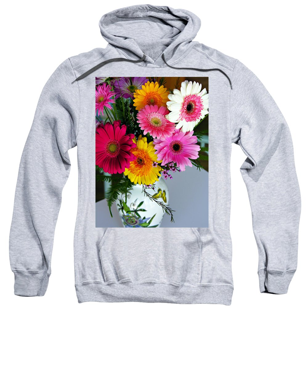 Flower Sweatshirt featuring the photograph Gerbera Daisy Bouquet by Marilyn Hunt