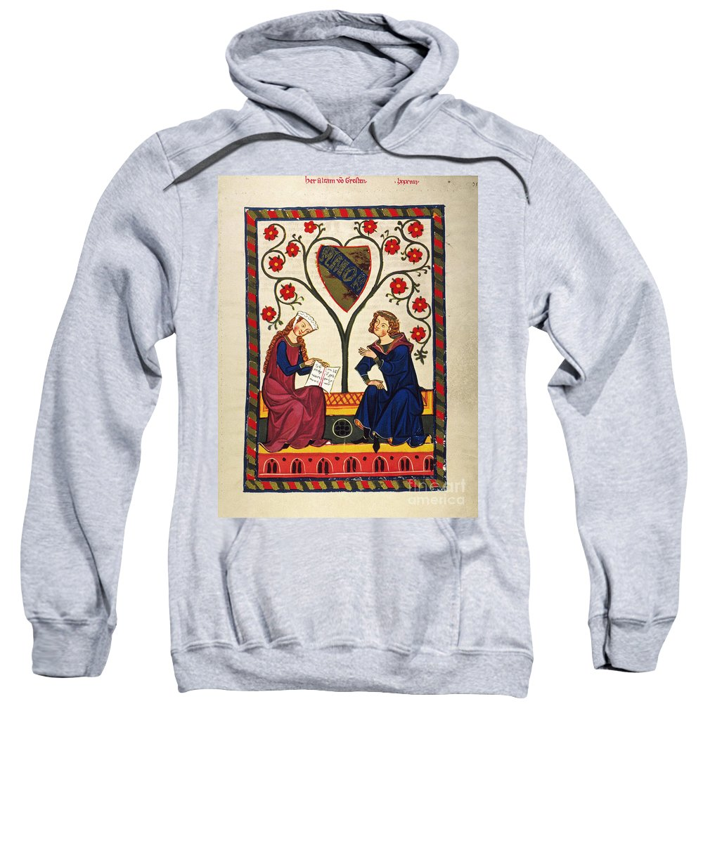14th Century Sweatshirt featuring the photograph German Minnesinger 14th C - To License For Professional Use Visit Granger.com by Granger