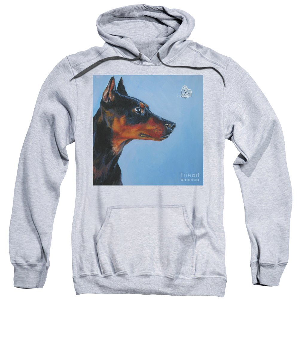German Pinscher Sweatshirt featuring the painting German Pinscher by Lee Ann Shepard