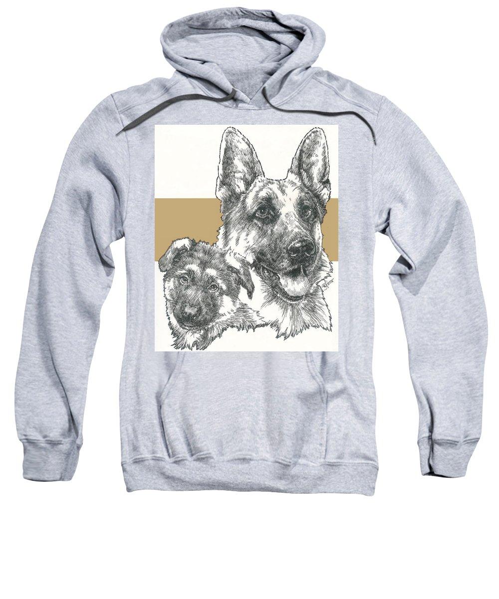 Herding Group Sweatshirt featuring the mixed media German Shepherd And Pup by Barbara Keith