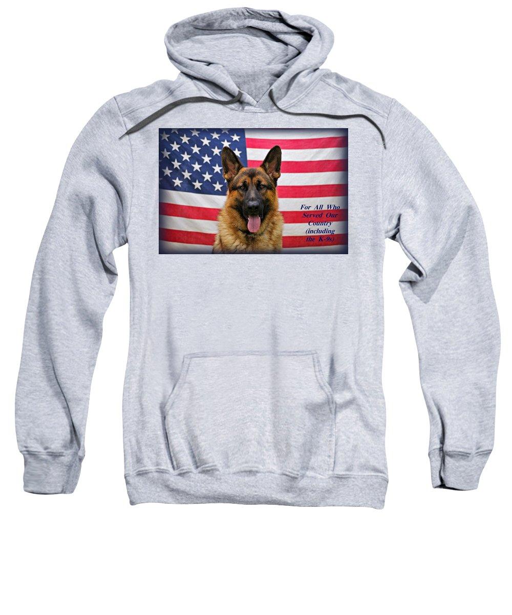 German Shepherd Sweatshirt featuring the photograph German Shepherd - U.s.a. - Text by Sandy Keeton