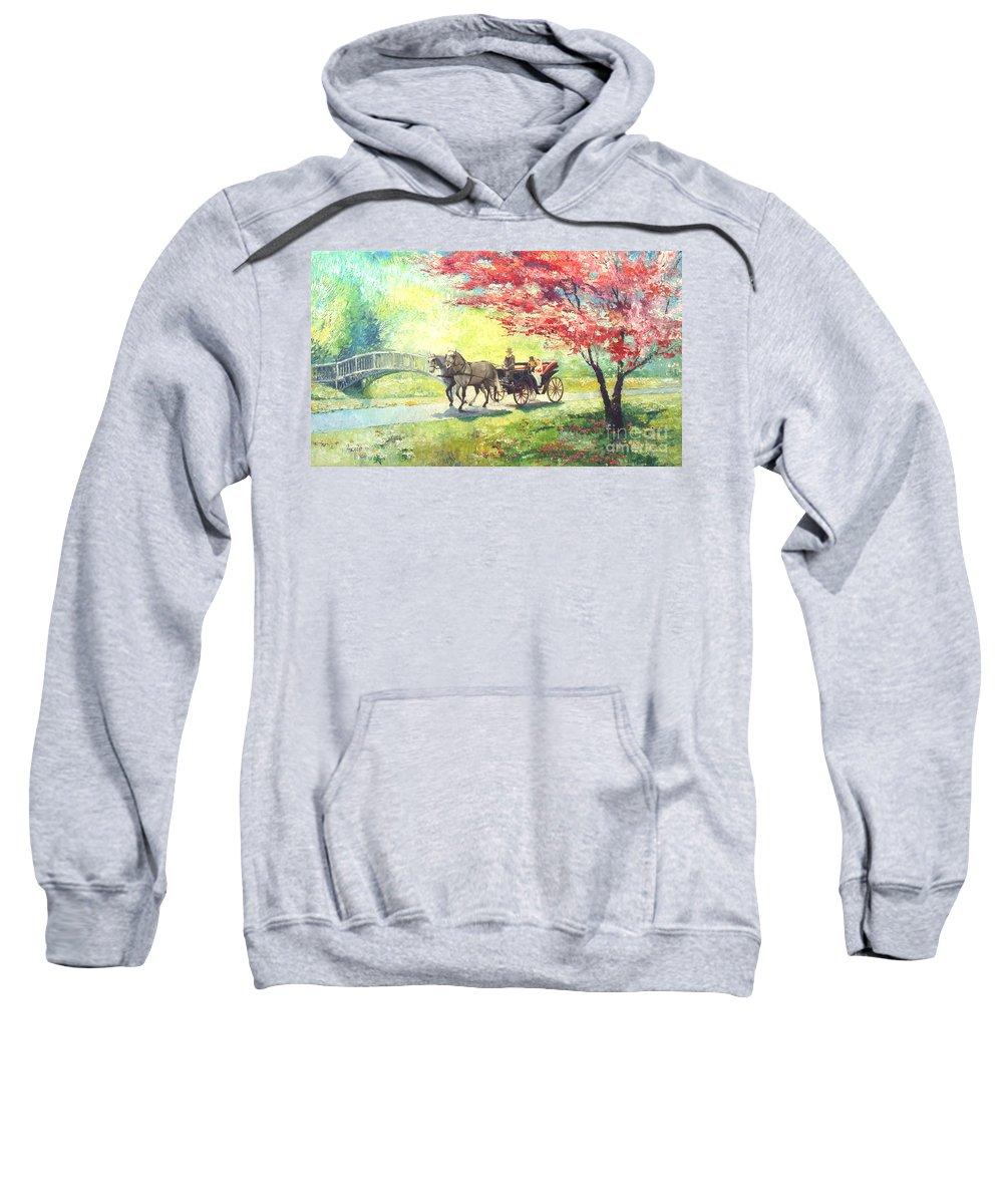 Allee Sweatshirt featuring the painting Germany Baden-baden Lichtentaler Allee Spring 2 by Yuriy Shevchuk