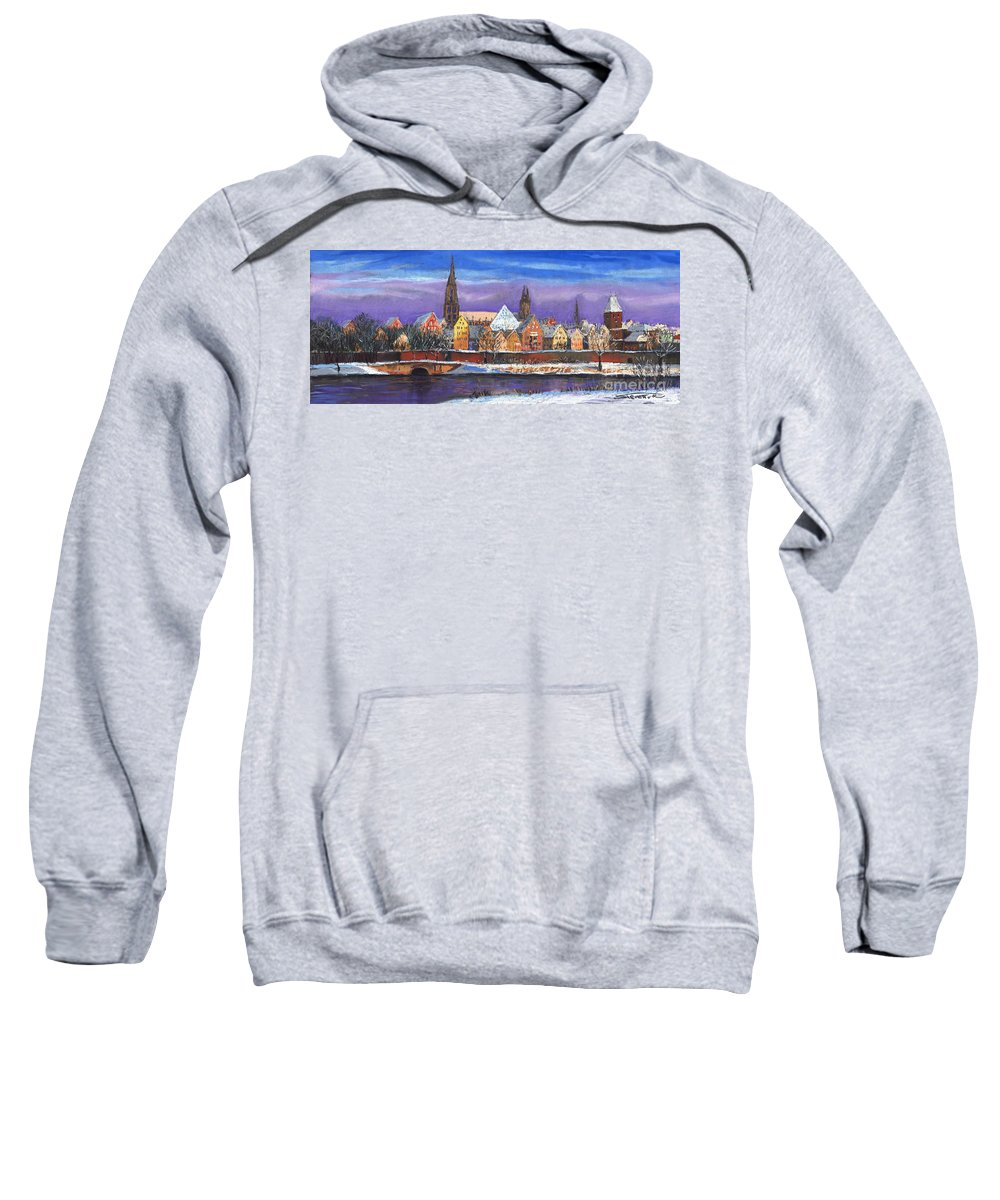 Pastel Sweatshirt featuring the painting Germany Ulm Panorama Winter by Yuriy Shevchuk