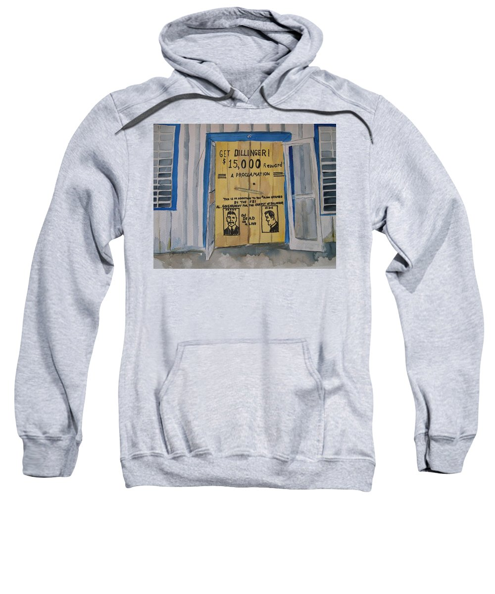 Building Sweatshirt featuring the painting Get Dillinger by Patricia Caldwell
