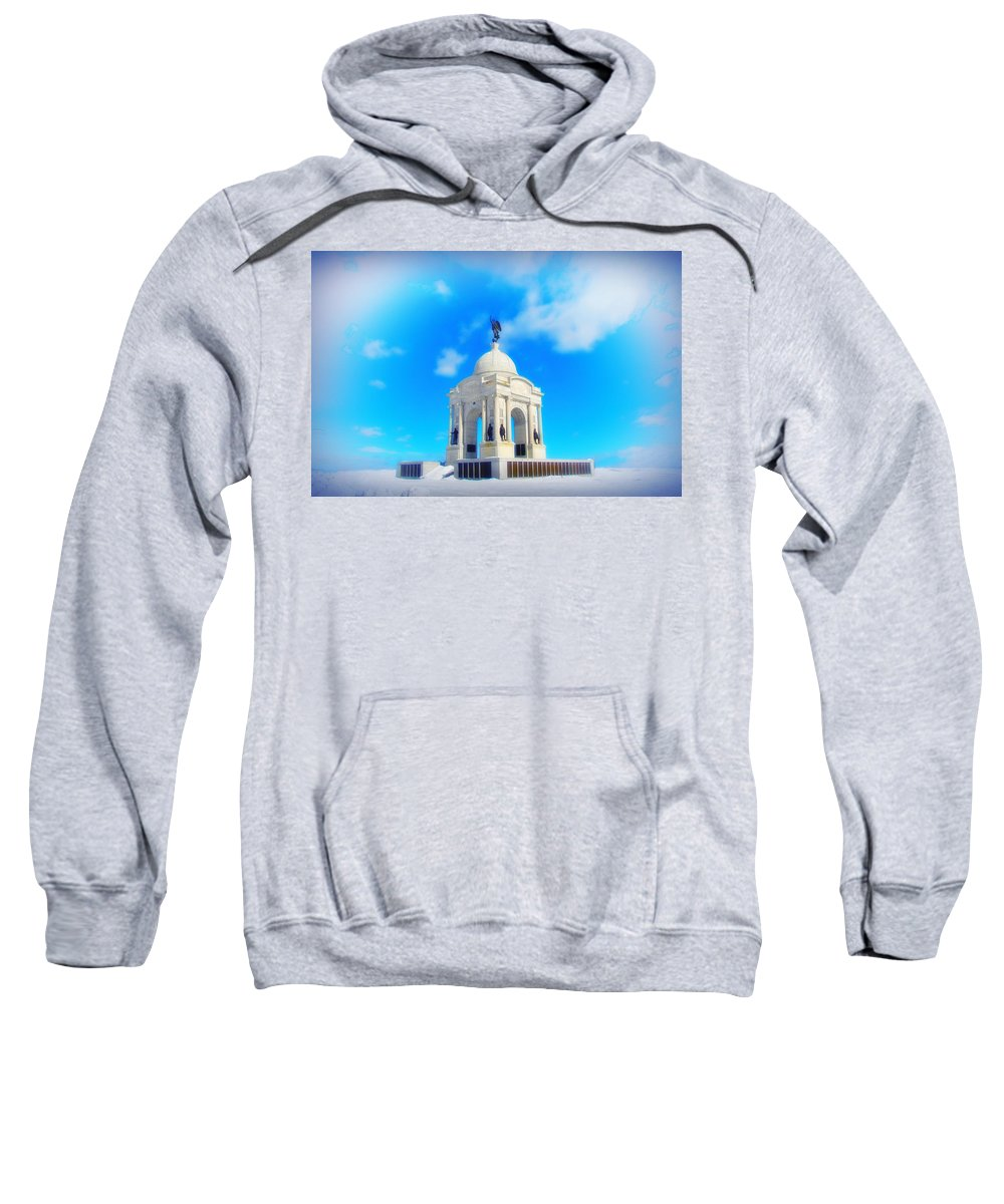 Gettysburg Memorial Sweatshirt featuring the photograph Gettysburg Memorial In Winter by Bill Cannon
