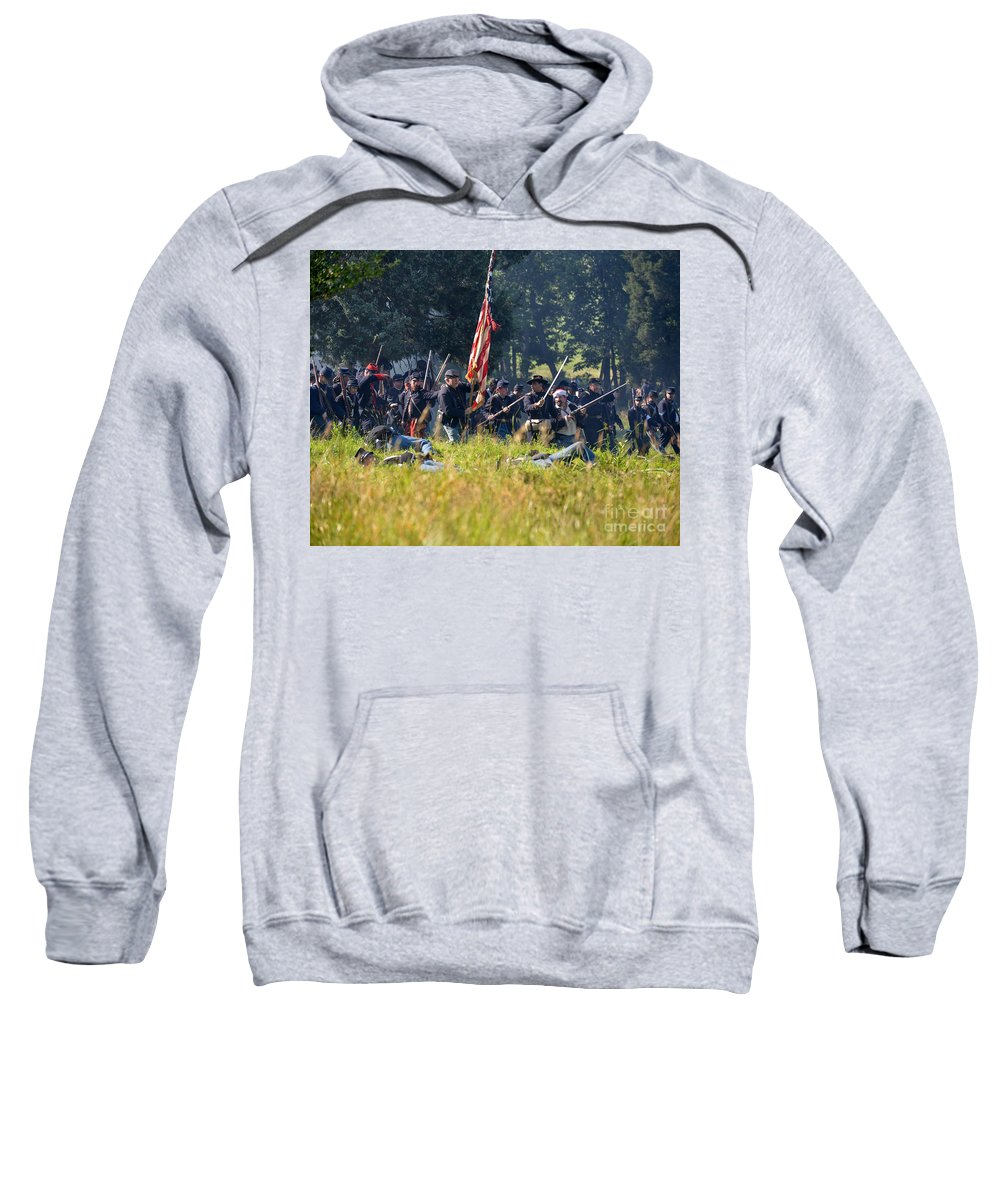 150th Sweatshirt featuring the photograph Gettysburg Union Infantry 9348c by Cynthia Staley