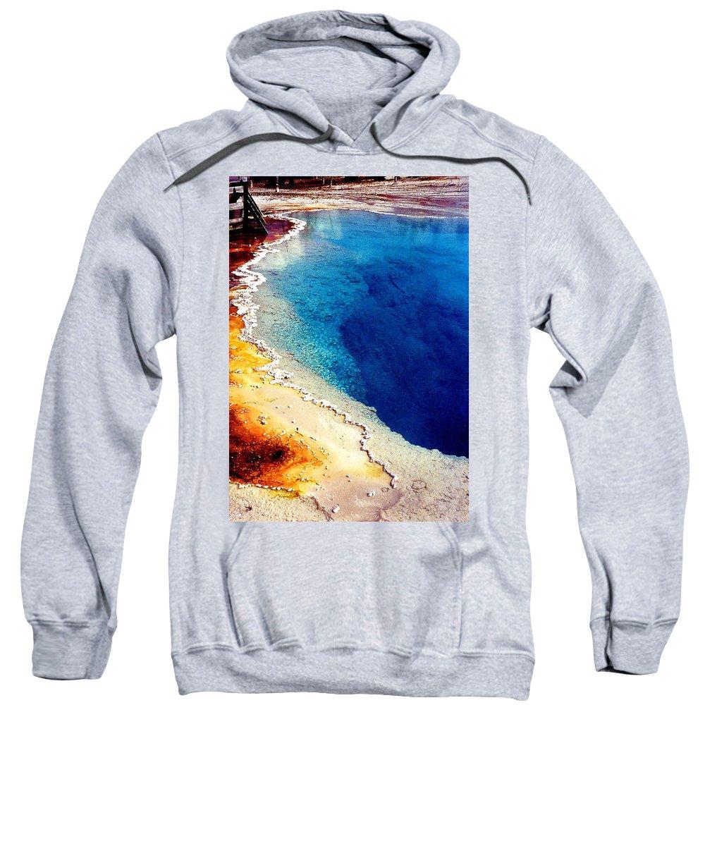 Geyser Sweatshirt featuring the photograph Geyser Basin by Nancy Mueller