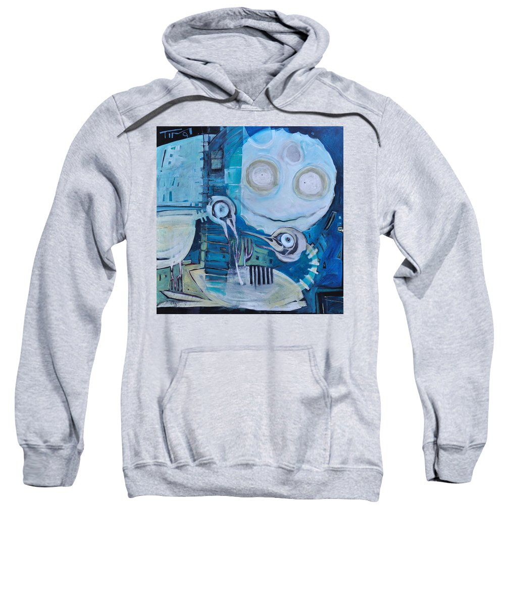Bird Sweatshirt featuring the painting Ghost Birds At Play by Tim Nyberg