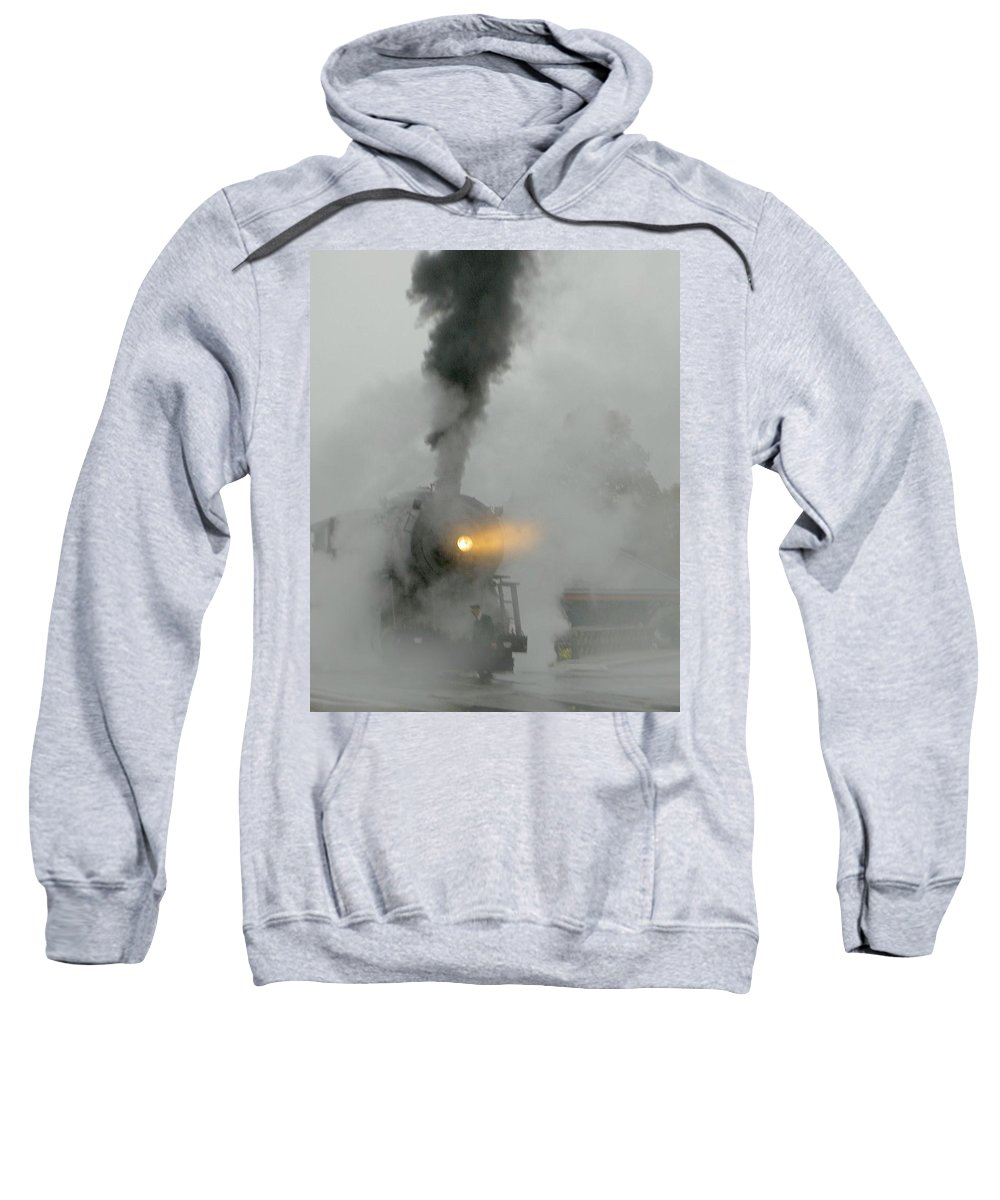 Mist Sweatshirt featuring the photograph Ghost Train In The Mist by Carolyn Jacob