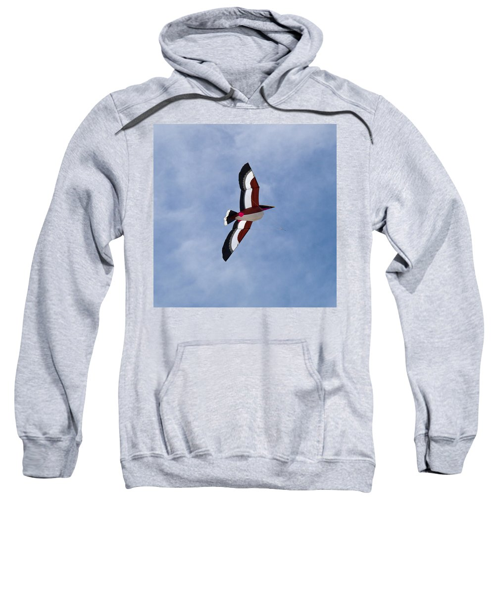 Pelican; Kite; Giant; Soaring; Fly; Flying; Spring; Break; Fesival; Fest; Kitefest; Florida; Melbour Sweatshirt featuring the photograph Giant Pelican Searching For Prey by Allan Hughes
