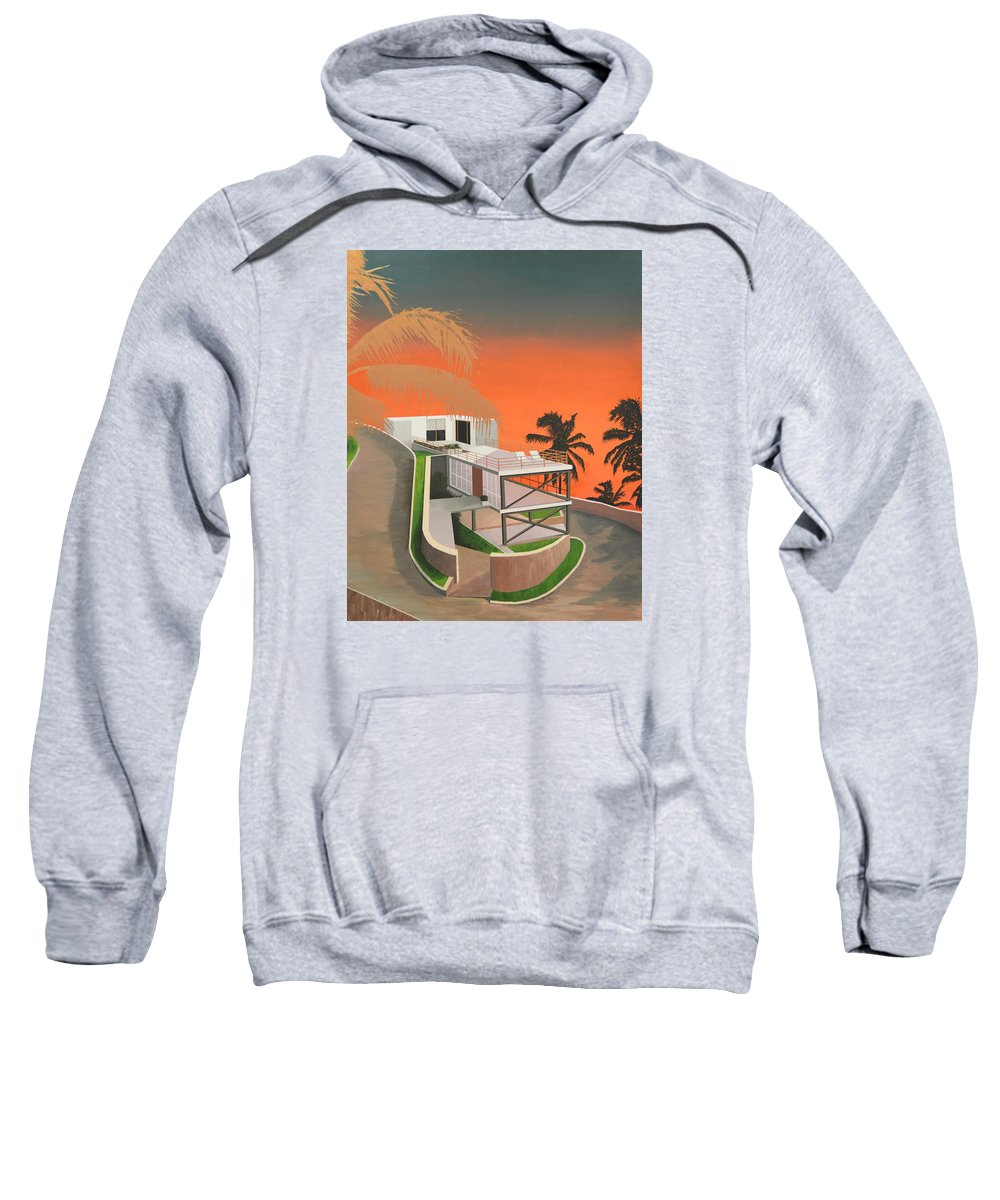Gradient Sweatshirt featuring the painting Gilded Fronds by Slade Hartwell