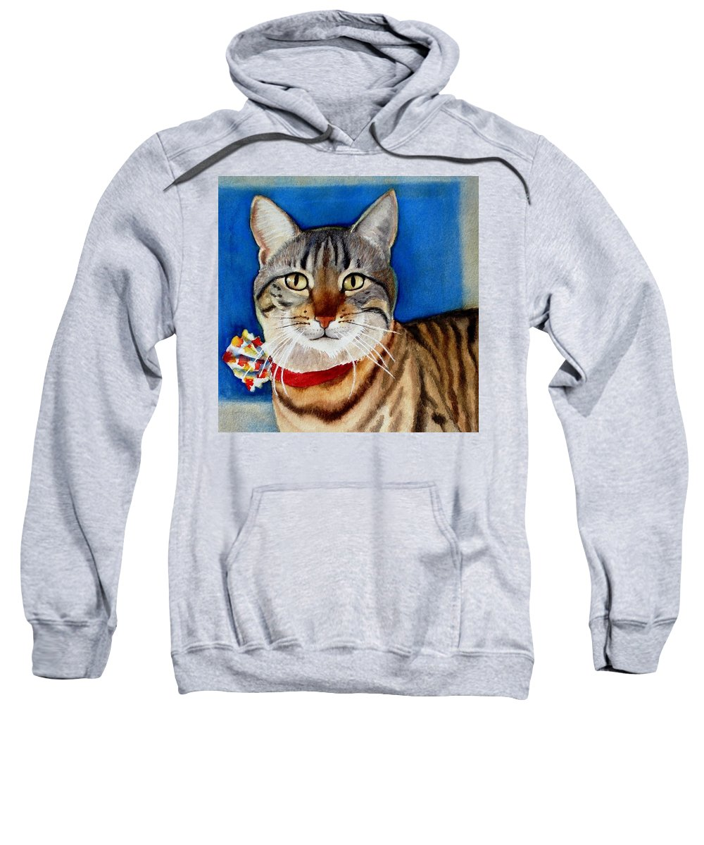 Cat Sweatshirt featuring the painting Ginger by Marilyn Jacobson