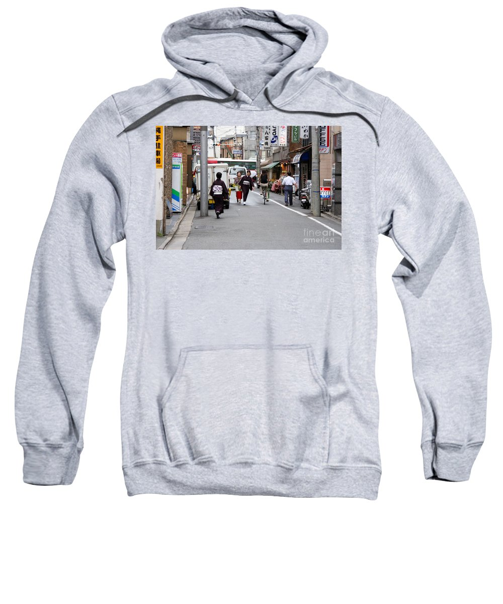 Kyoto Sweatshirt featuring the photograph Gion District Street Scene Kyoto Japan by Thomas Marchessault