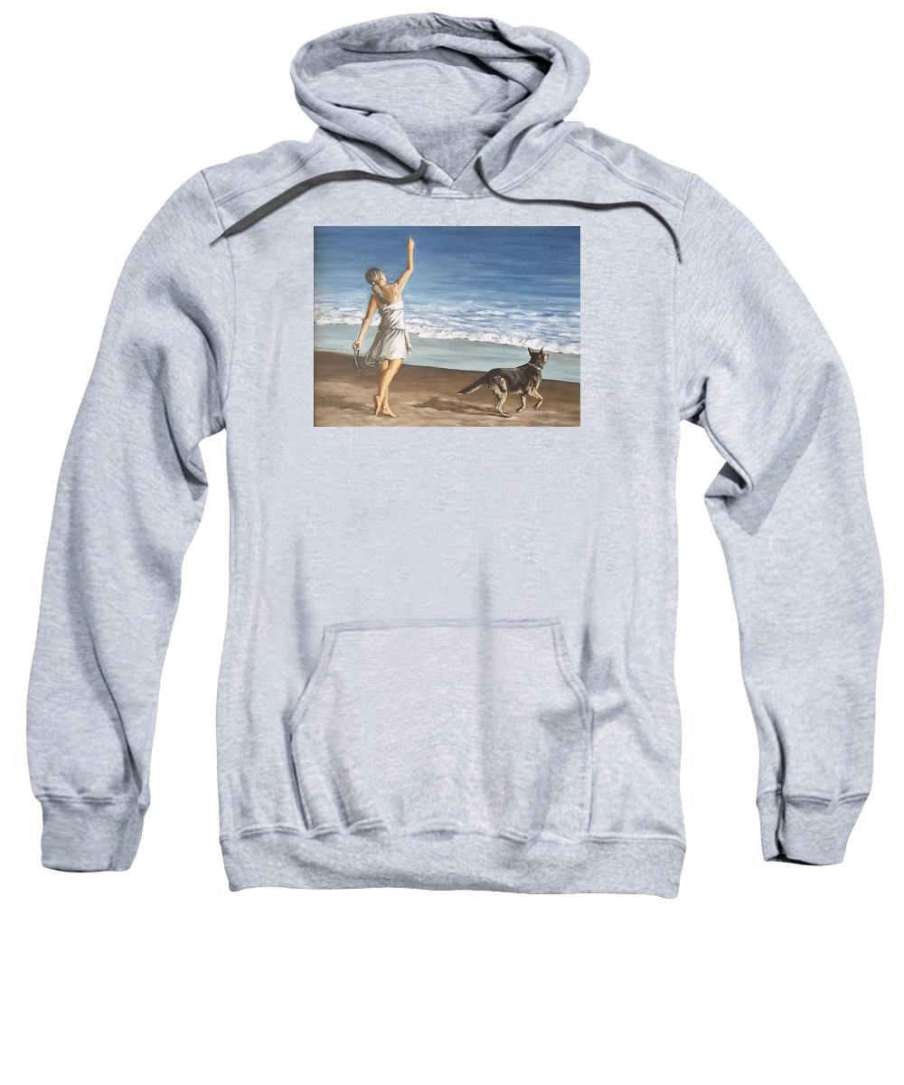 Portrait Girl Beach Dog Seascape Sea Children Figure Figurative Sweatshirt featuring the painting Girl And Dog by Natalia Tejera