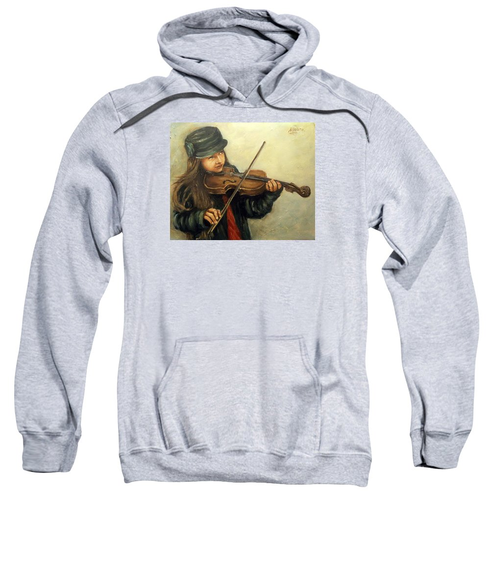 Girl Kid Child Music Violin Portrait Figurative Sweatshirt featuring the painting Girl And Her Violin by Natalia Tejera