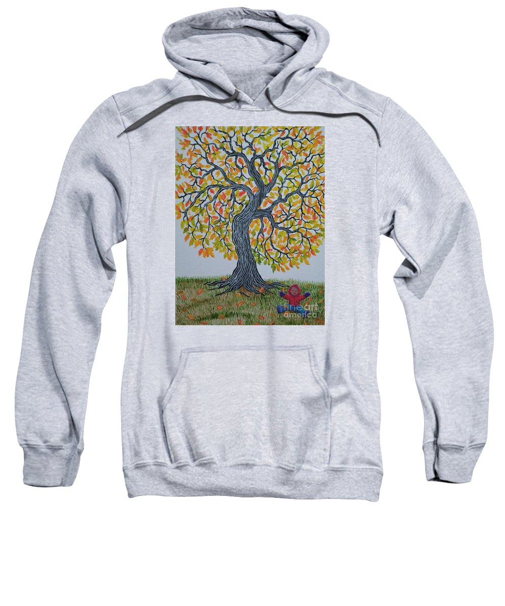 Girl Sweatshirt featuring the painting Girl And Leafs by Nick Gustafson