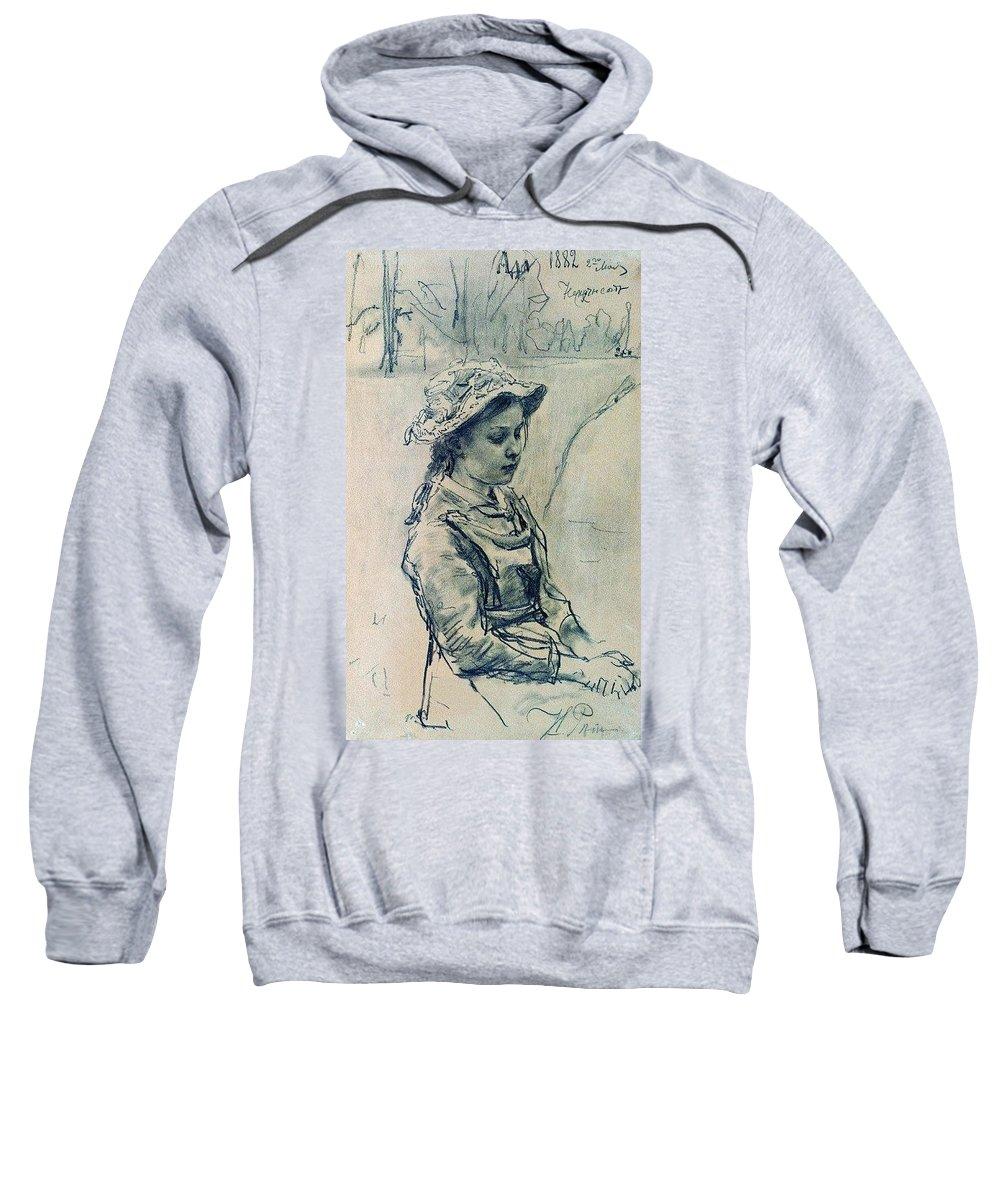 Sketch Sweatshirt featuring the digital art Girl Hell 1882 Ilya Repin by Eloisa Mannion