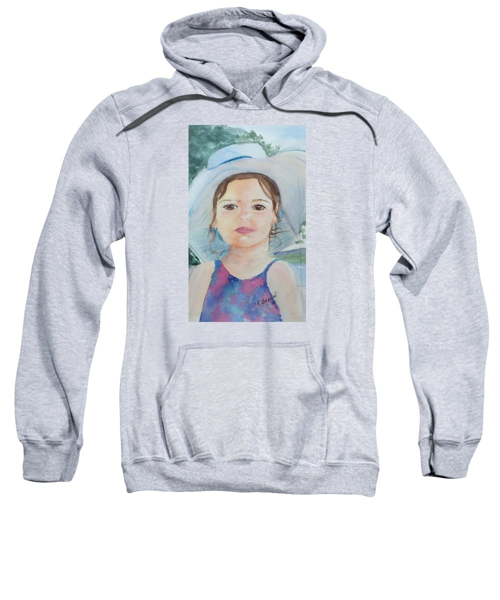 Watercolor Sweatshirt featuring the painting Girl In A Hat Portrait by Katherine Berlin