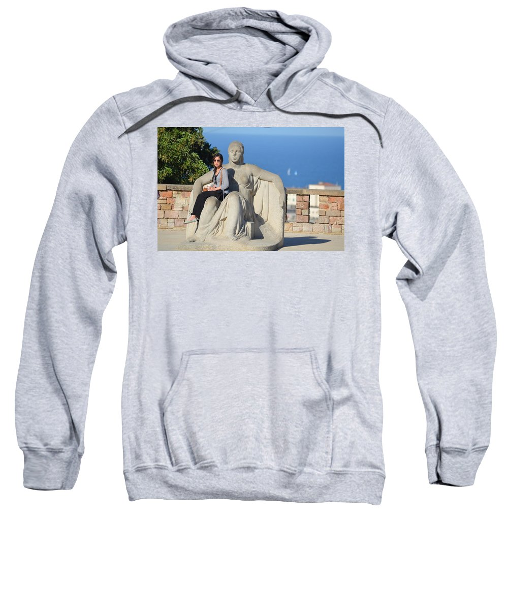 Girl Sweatshirt featuring the photograph Girl On Statue Mt. Juic Barcelona by Brian Fornear