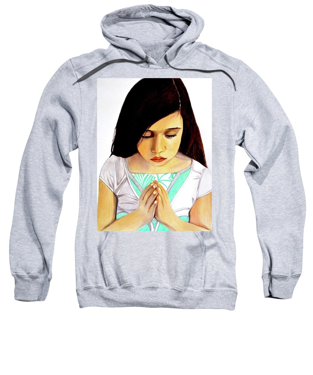 Roxanna Sweatshirt featuring the drawing Girl Praying Drawing Portrait By Saribelle by Saribelle Rodriguez