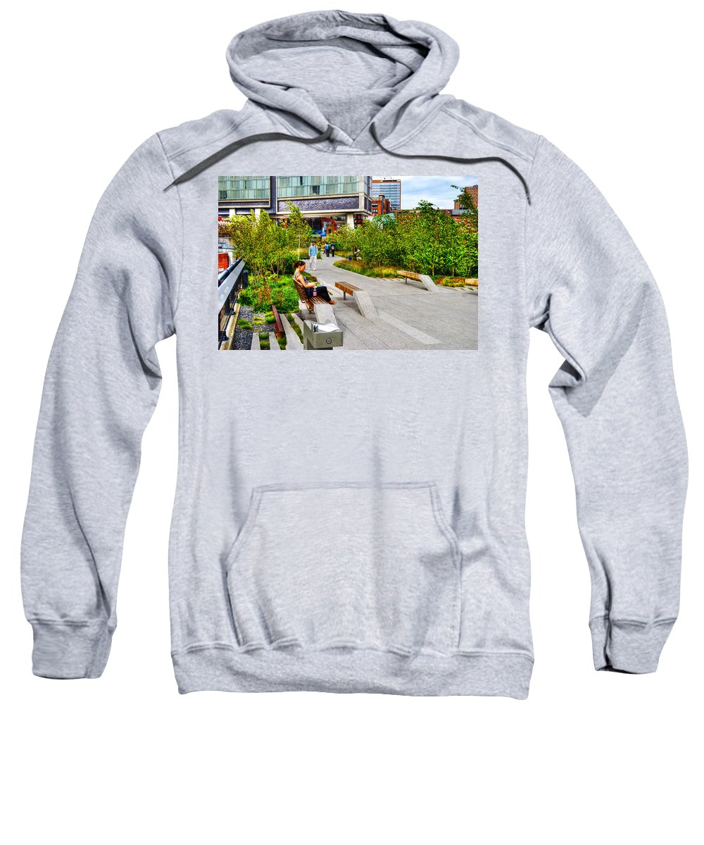 High Line Park Sweatshirt featuring the photograph Girl Uninterrupted On The High Line by Randy Aveille