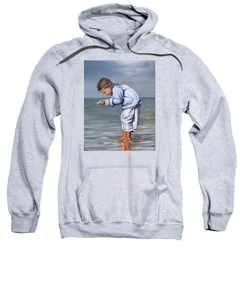Kid Girl Seascape Sea Children Reflection Water Sea Shell Figurative Sweatshirt featuring the painting Girl With Shell by Natalia Tejera