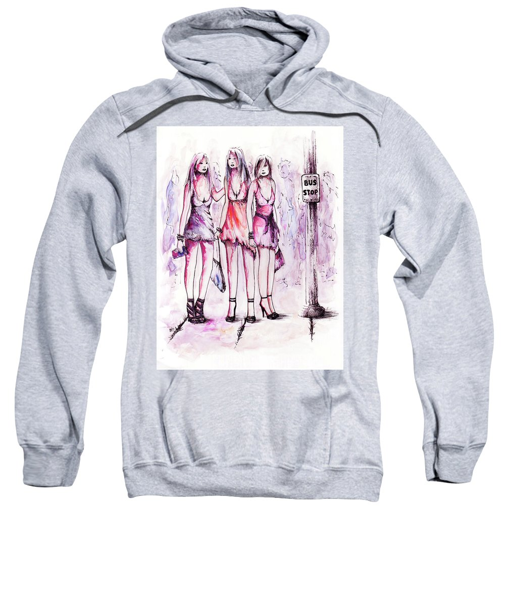 Figure Sweatshirt featuring the drawing Girls Night Out by Rachel Christine Nowicki