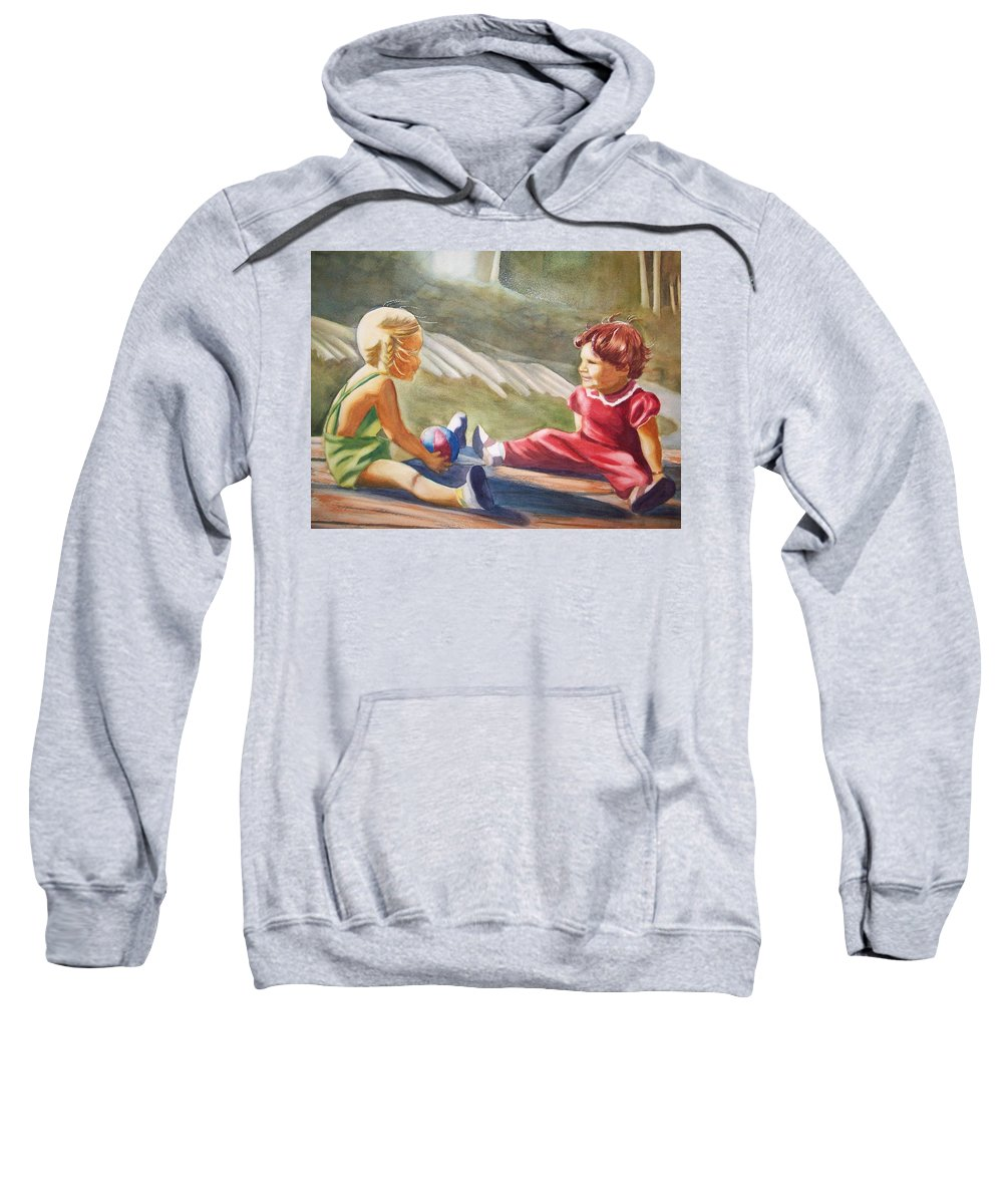 Girls Sweatshirt featuring the painting Girls Playing Ball by Marilyn Jacobson