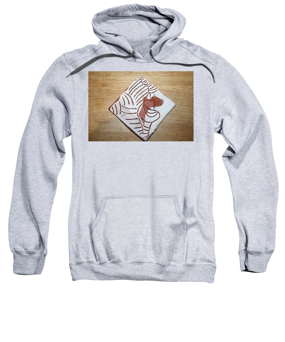 Jesus Sweatshirt featuring the ceramic art Glad - Tile by Gloria Ssali