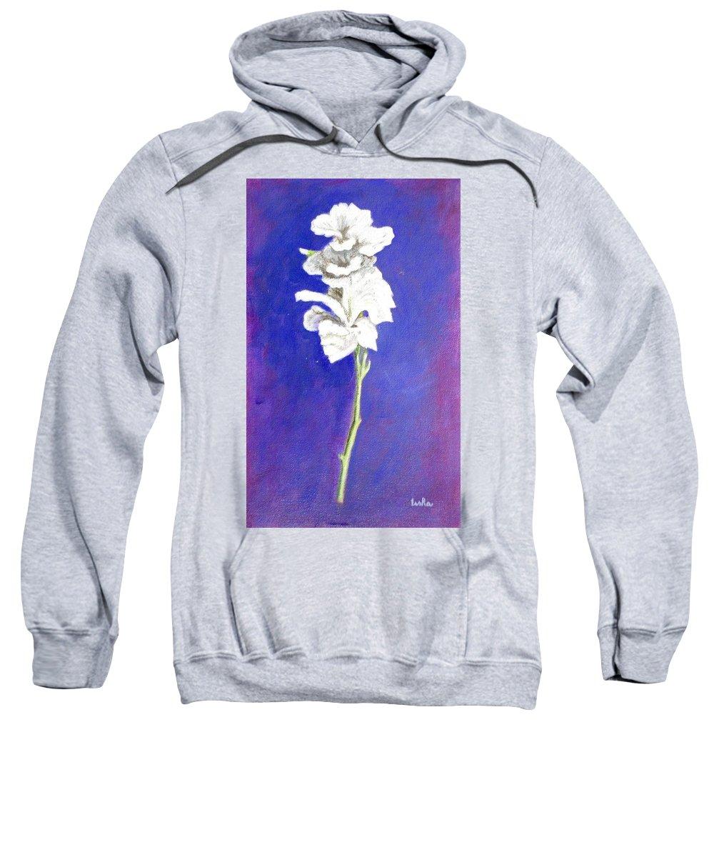 Flower Sweatshirt featuring the painting Gladiolus 1 by Usha Shantharam