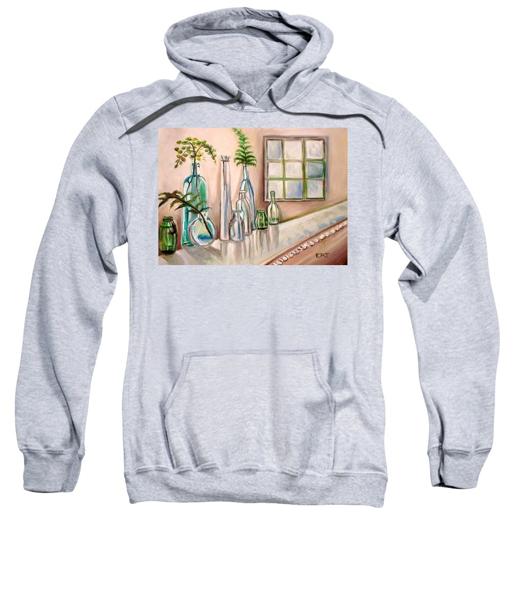 Glass Sweatshirt featuring the painting Glass And Ferns by Elizabeth Robinette Tyndall