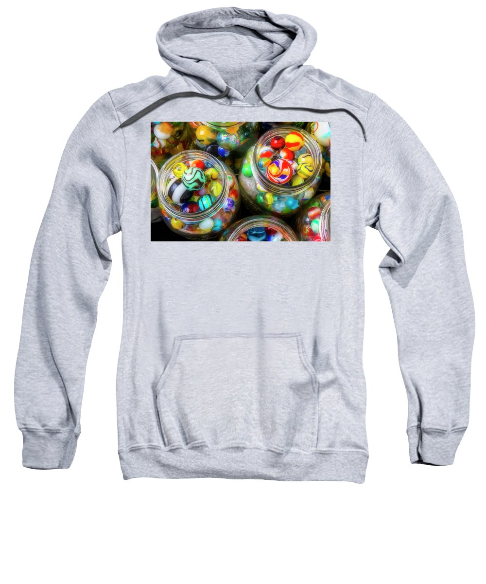 Jar Sweatshirt featuring the photograph Glass Marbles In Containers by Garry Gay