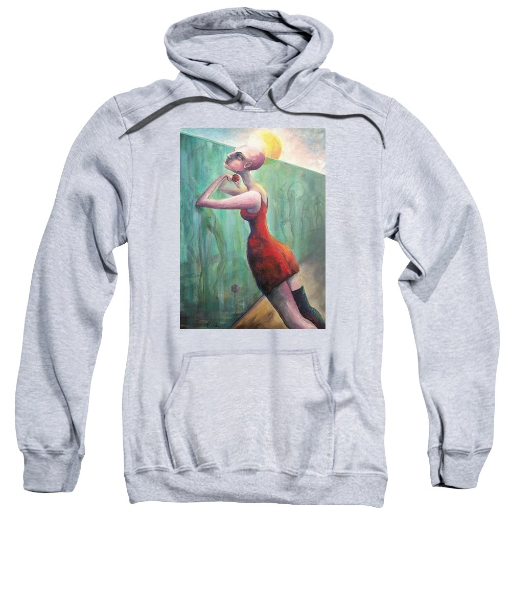 Woman Sweatshirt featuring the painting Glass Wall by Elisheva Nesis