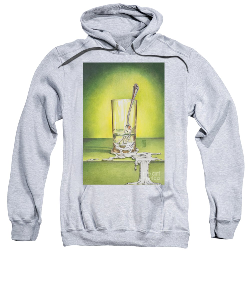 Bizarre Sweatshirt featuring the painting Glass With Melting Fork by Melissa A Benson
