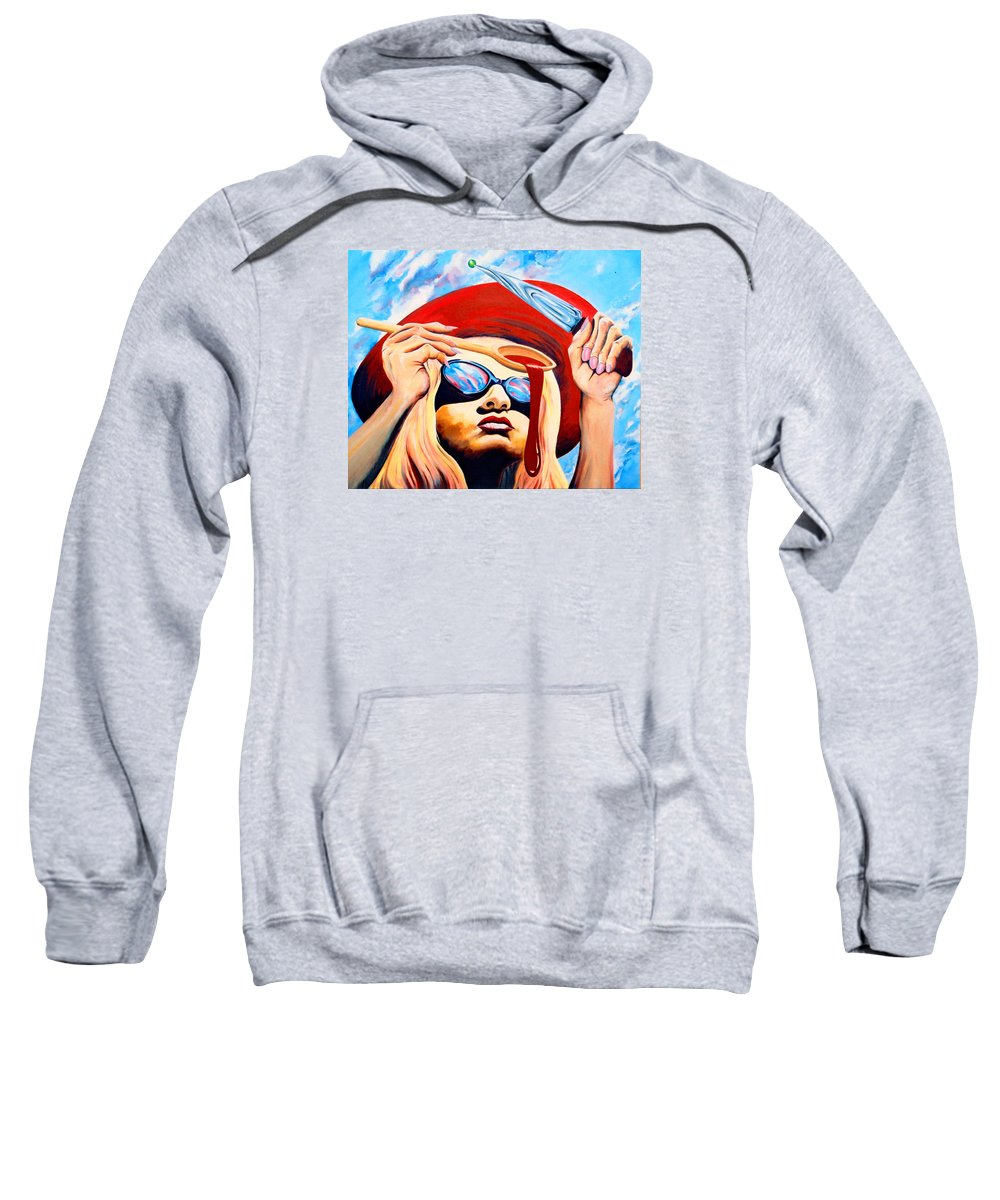Surreal Sweatshirt featuring the painting Global Food Distribution by Mark Cawood