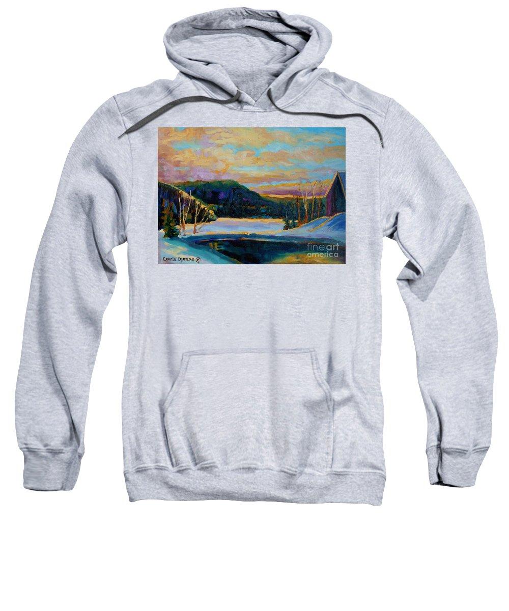 Vermont Sweatshirt featuring the painting Glorious Winter Sunrise by Carole Spandau