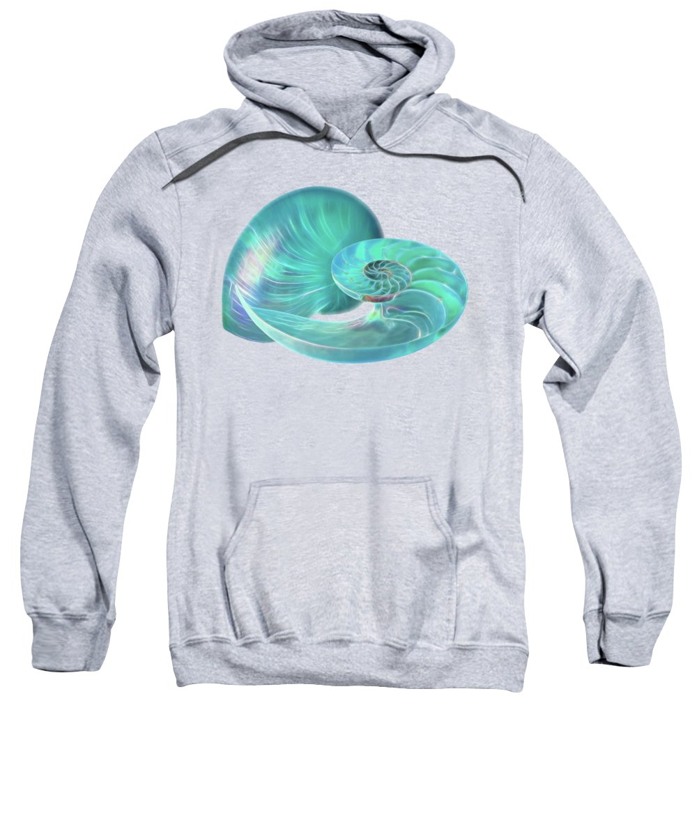 Nautilus Shell Sweatshirt featuring the photograph Glowing Turquoise Nautilus Shell by Gill Billington