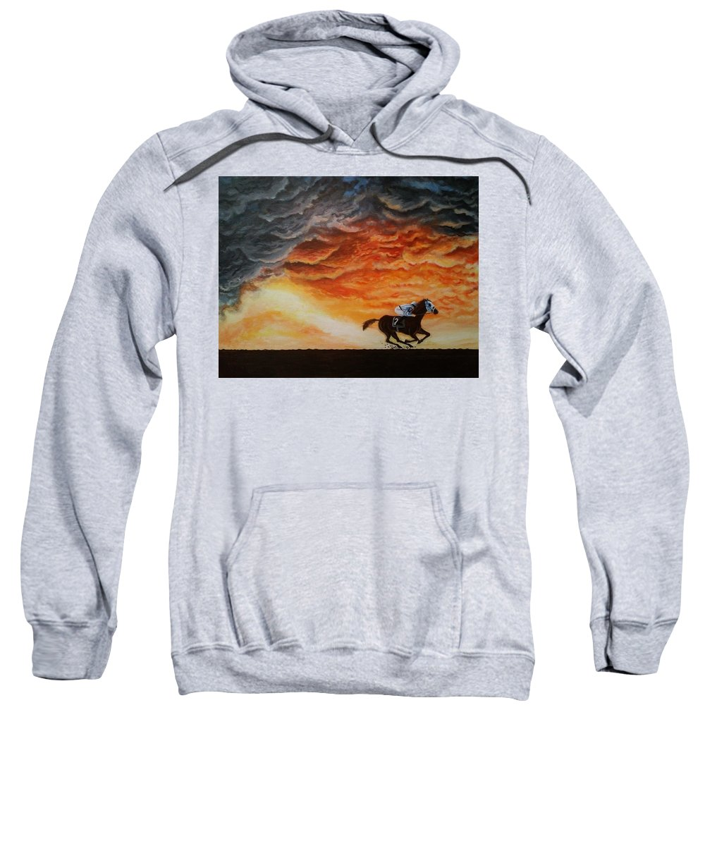 Racing Sweatshirt featuring the painting Go Big Red by Ramesh Mahalingam