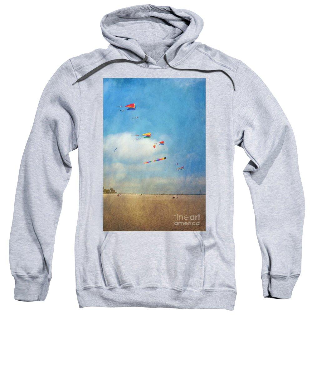 Go Fly A Kite Sand Windy Day Beach Sweatshirt featuring the photograph Go Fly A Kite by David Zanzinger