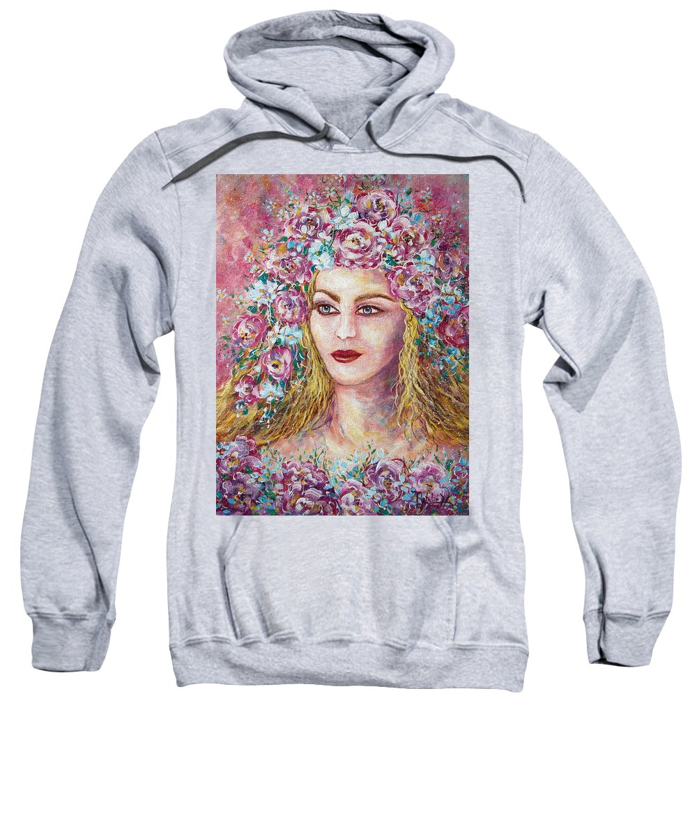Goddess Of Good Fortune Sweatshirt featuring the painting Goddess Of Good Fortune by Natalie Holland