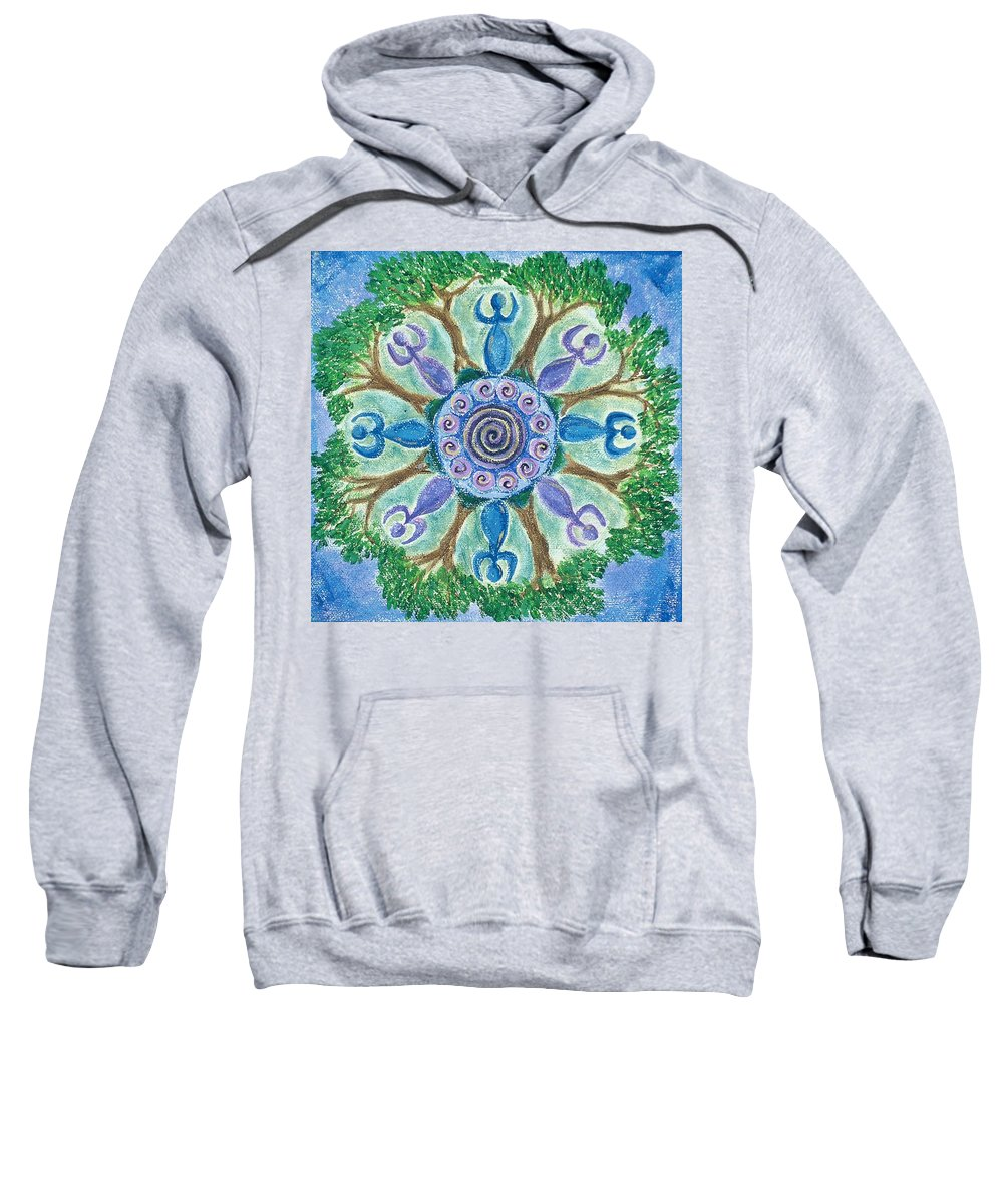 Goddess Sweatshirt featuring the painting Goddesses Dancing by Charlotte Backman