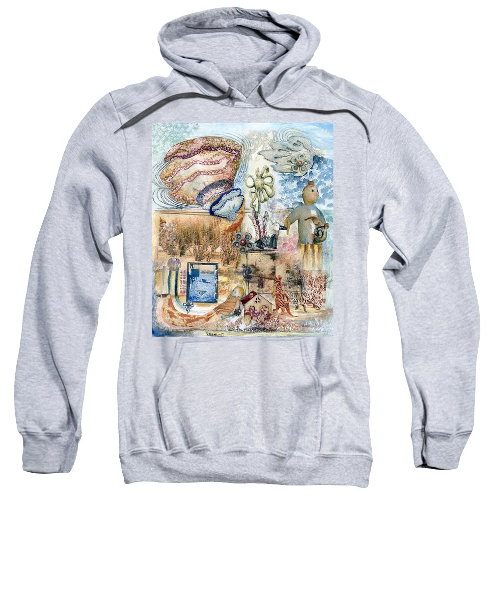 Fantasy Digital Art Sweatshirt featuring the painting Going Down by Valerie Meotti