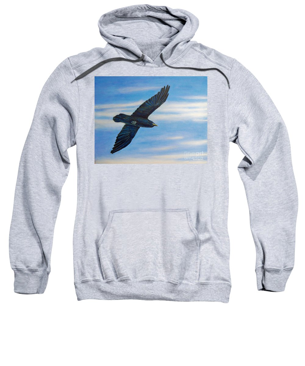 Bird Sweatshirt featuring the painting Going Home by Brian Commerford