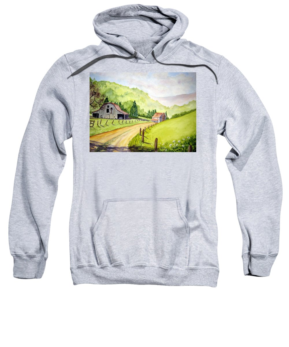 Barns Sweatshirt featuring the painting Going Home by Julia RIETZ