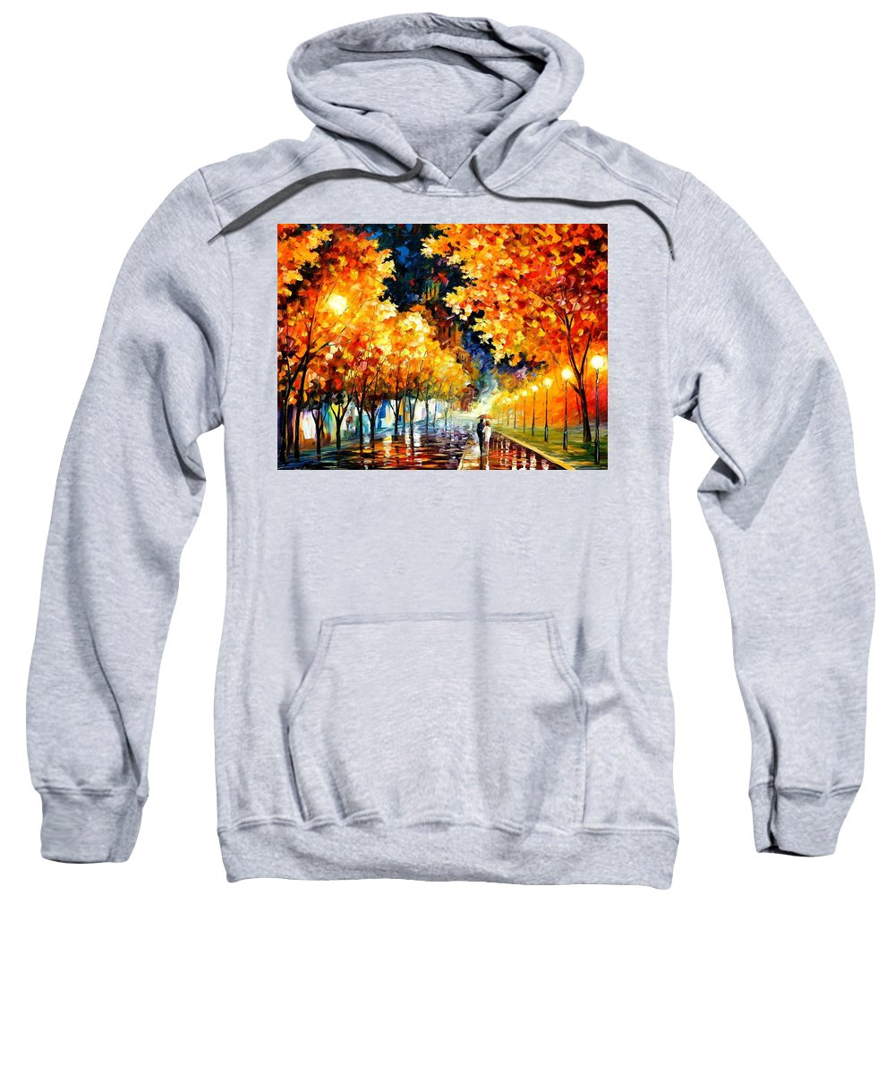 Afremov Sweatshirt featuring the painting Gold Boulevard by Leonid Afremov
