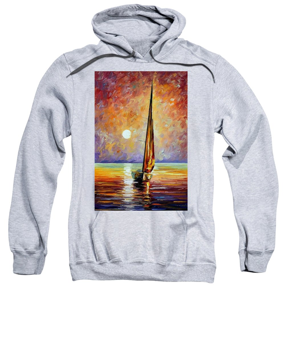 Afremov Sweatshirt featuring the painting Gold Sail by Leonid Afremov