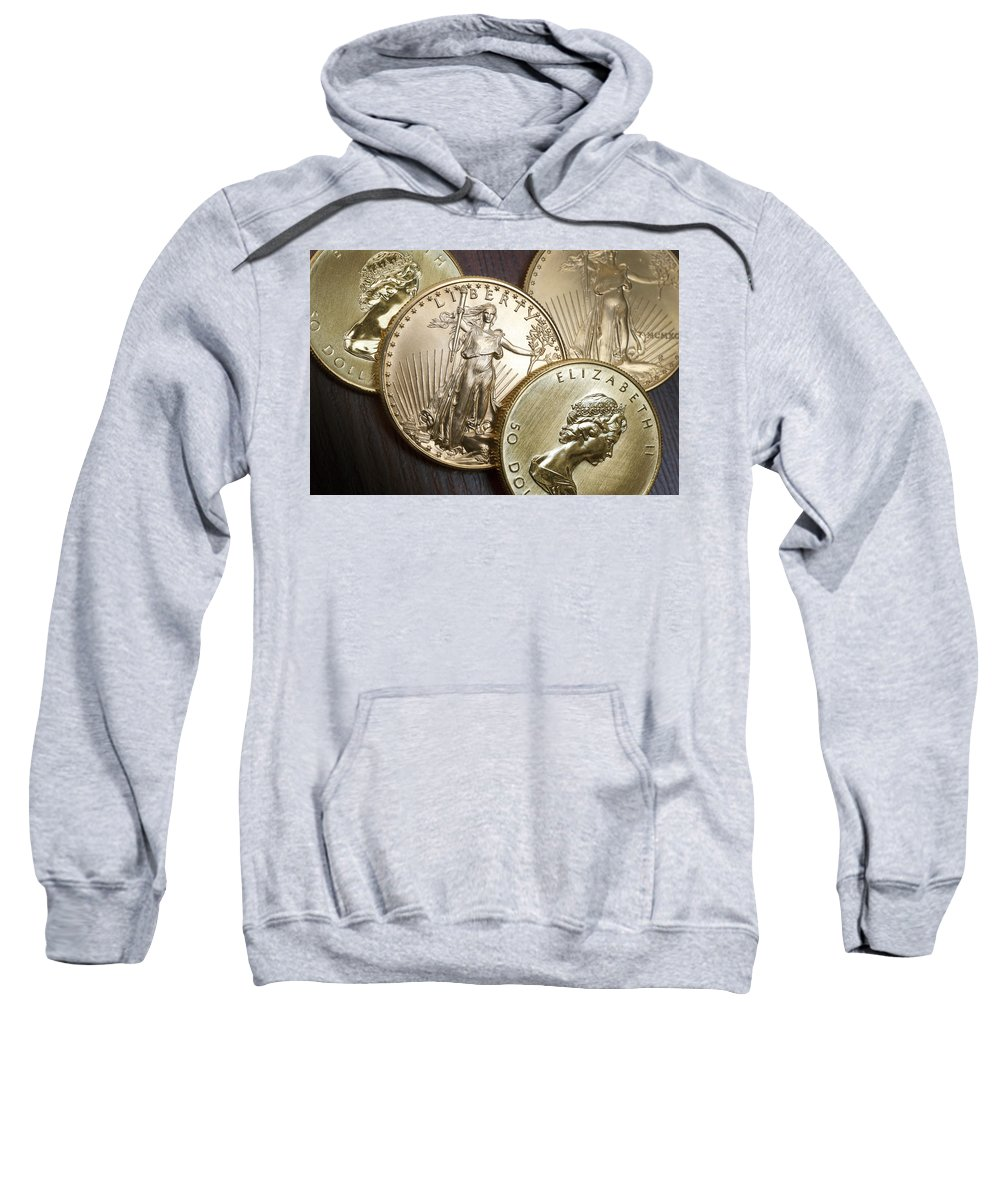 Bank Sweatshirt featuring the photograph Golden Coins by Joe Carini - Printscapes
