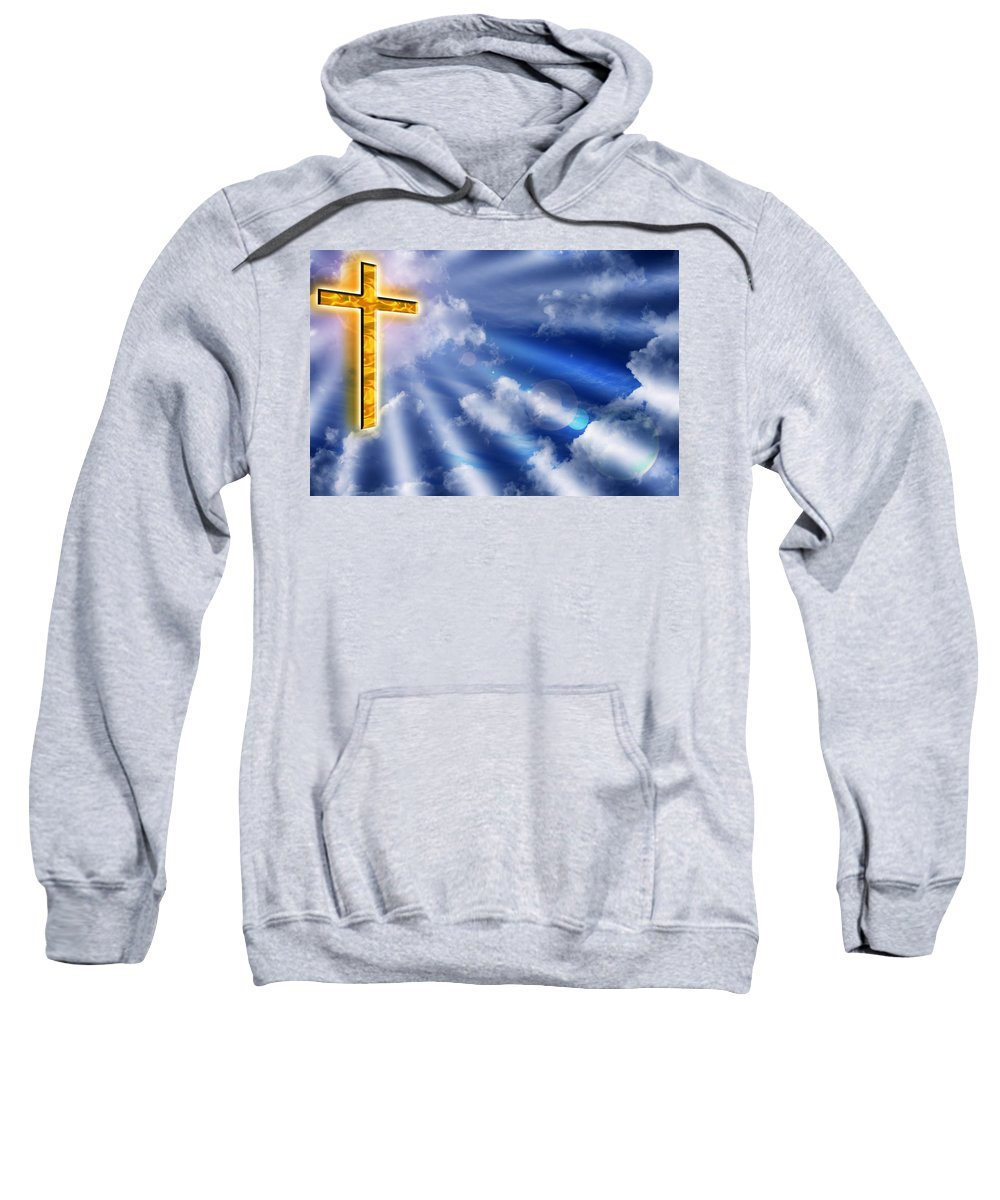 Cross Sweatshirt featuring the photograph Golden Cross by Phill Petrovic