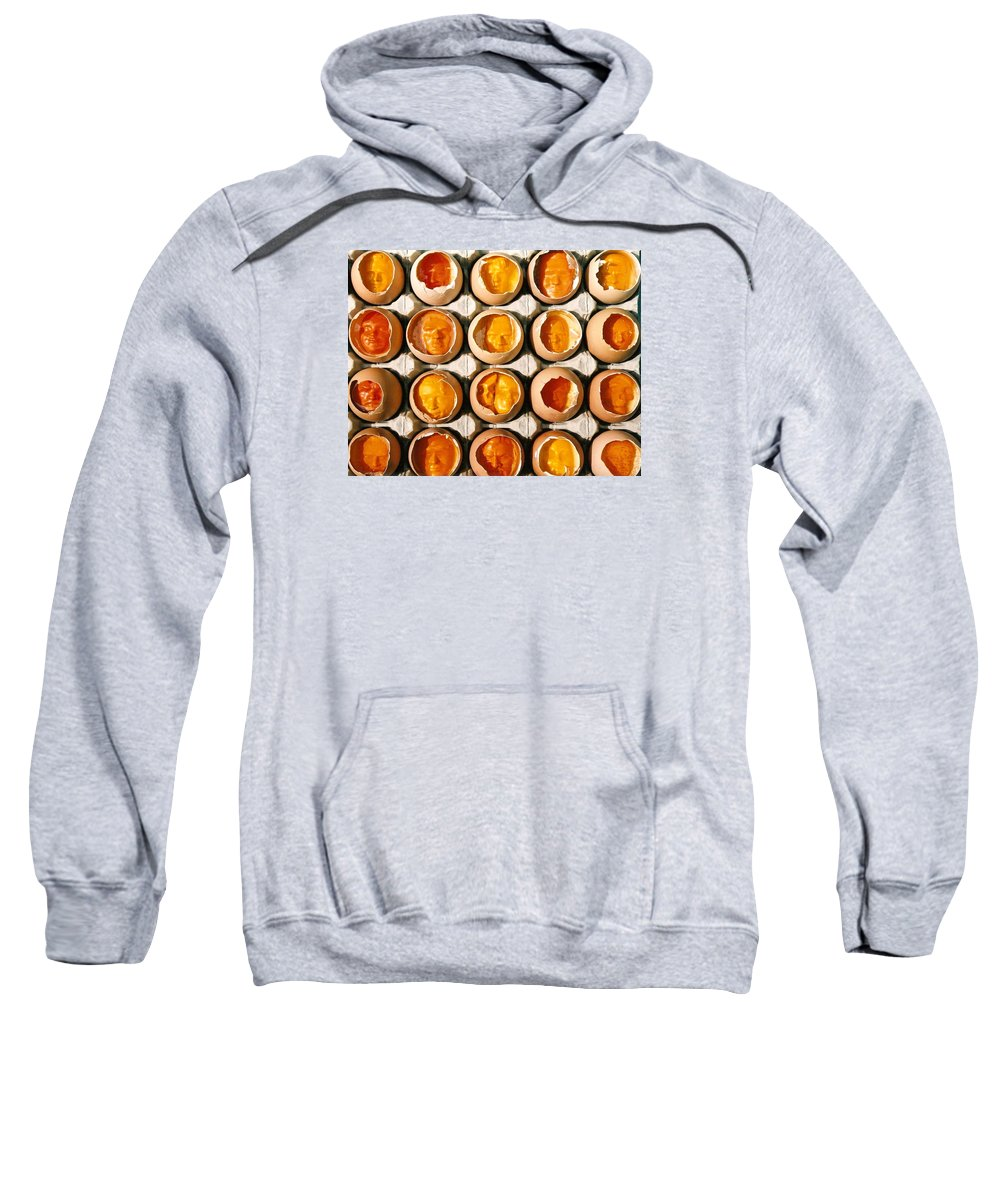 Eggs Sweatshirt featuring the sculpture Golden Eggs 2 by Mark Cawood